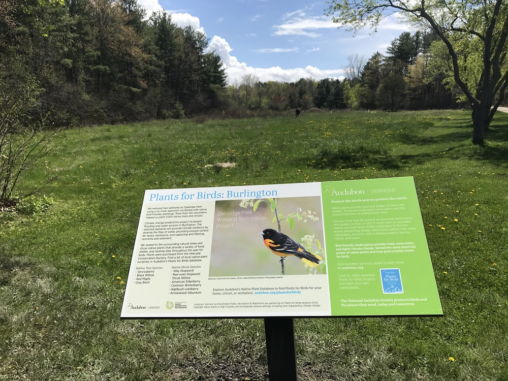 Photo: Plants for Birds sign at Oakledge Park