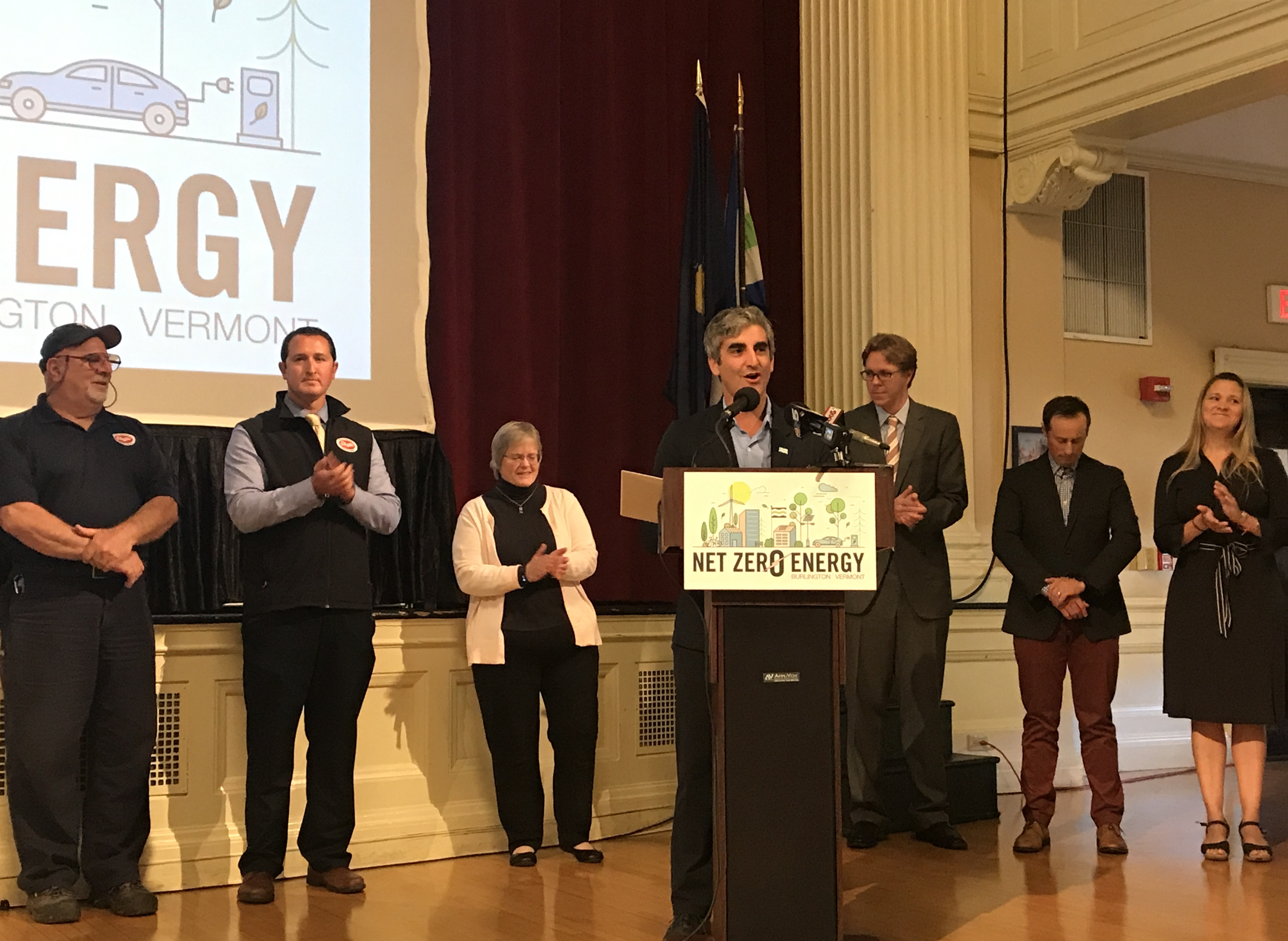 Photo: Mayor Weinberger and partners at Net Zero Energy Roadmap launch.