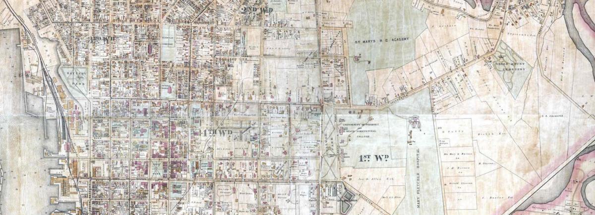 Map of Burlington Wards, ca. 1890
